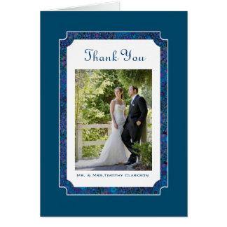 Pflaumen-glückliche Hochzeit danken Ihnen Mitteilungskarte