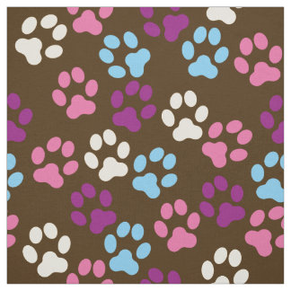 Pflaumen-Hundetatze Browns druckt rosa blaue Stoff