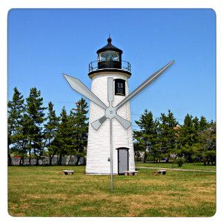 Pflaumen-Insel-Leuchtturm, Massachusetts-Wanduhr Quadratische Wanduhr