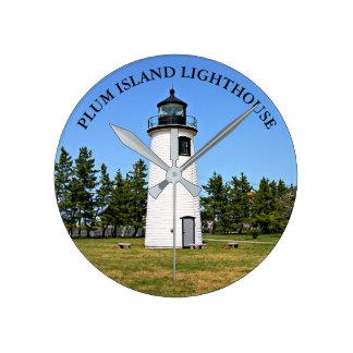 Pflaumen-Insel-Leuchtturm, Massachusetts-Wanduhr Runde Wanduhr