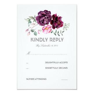 Pflaumen-lila Blumenwatercolor-Hochzeit UAWG Karte 8,9 X 12,7 Cm Einladungskarte