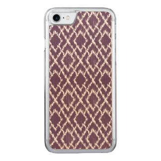 Pflaumen-lila Stammes- Druck Ikat Geo Carved iPhone 8/7 Hülle