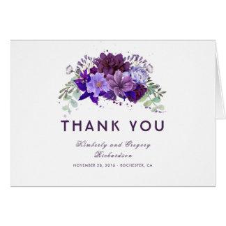 Pflaumen-lila und violette Blumenhochzeit danken Karte