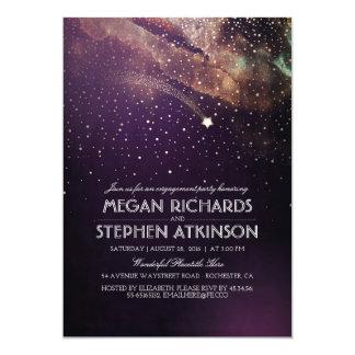 Pflaumen-Nachtgoldschießen-Stern-Verlobungs-Party 12,7 X 17,8 Cm Einladungskarte