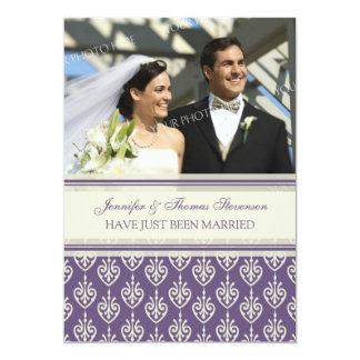 Pflaumen-SahneFoto-gerade verheiratete 12,7 X 17,8 Cm Einladungskarte