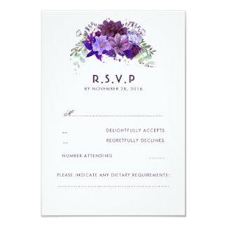 Pflaumen-violette Blumen-elegantes Hochzeit UAWG 8,9 X 12,7 Cm Einladungskarte