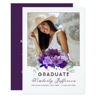 Pflaumen-violetter lila BlumenFoto-Abschluss 12,7 X 17,8 Cm Einladungskarte