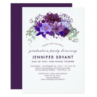 Pflaumen-violettes lila elegantes Abschluss-mit 12,7 X 17,8 Cm Einladungskarte