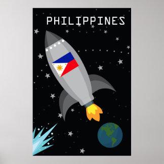 Philippinen-Flaggen-Rocket-Schiff Poster
