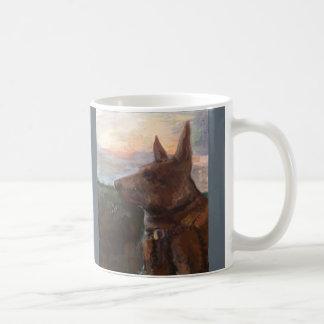 """""""Phoebe Hund im Sonnenuntergang"""" Malerei auf einer Tasse"""