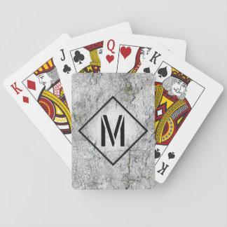 Photorealistic graues konkretes mit Monogramm Spielkarte