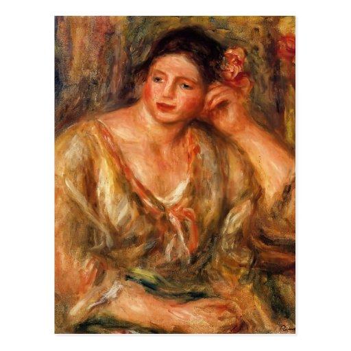Pierre Renoir- Madeleine, die auf ihrem Ellbogen Postkarte