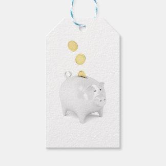 Piggy Bank mit goldenen Münzen Geschenkanhänger