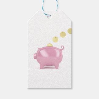 Piggy Bank und Münzen Geschenkanhänger