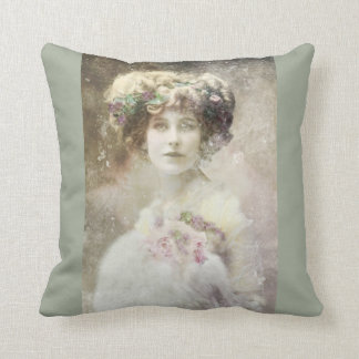 Pillow, Vintage Kunst, Frau, altes Foto Kissen