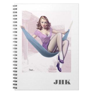 Pin-up-Girl-Illustrations-Gewohnheits-Notizbücher Spiral Notizblock