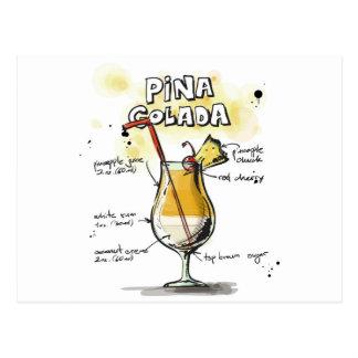 Pina Colada Getränk-Rezept-Entwurf Postkarte