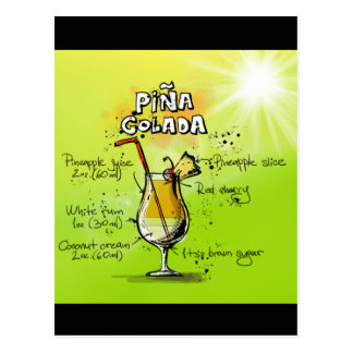 Pina Colada Rezept - Cocktail-Geschenk Postkarte