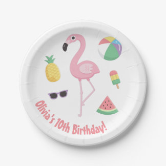 Pineapple Watermelon Pink Flamingo Party Supplies Pappteller 17,8 Cm