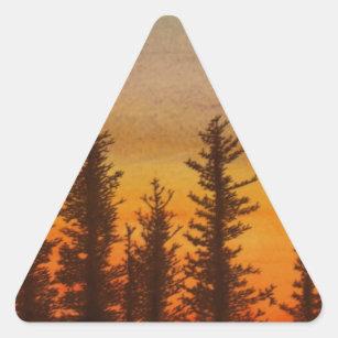 Pinetree Sonnenuntergang Dreieckiger Aufkleber