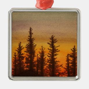 Pinetree Sonnenuntergang Silbernes Ornament
