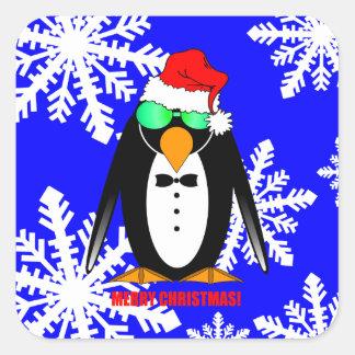 Pinguin der frohen Weihnachten Quadratsticker