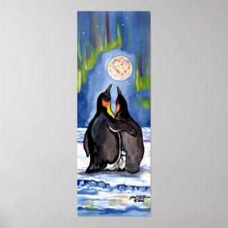 Pinguin-Familien-Küken-Aurora-Mond-romantisches Poster