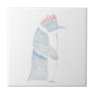 Pinguin in einem Barett Kleine Quadratische Fliese