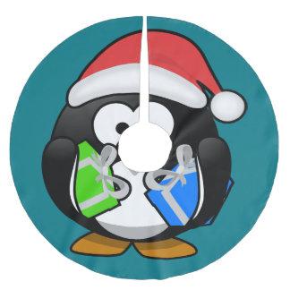 Pinguin mit Geschenken Polyester Weihnachtsbaumdecke