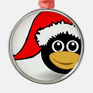 Pinguin Rundes Silberfarbenes Ornament