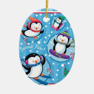 Pinguin-Spaß-Verzierung Keramik Ornament