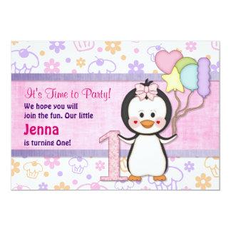 Pinguin Süsse Mädchen-erster Geburtstag 12,7 X 17,8 Cm Einladungskarte