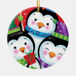 Pinguin-Trio-Verzierung Rundes Keramik Ornament
