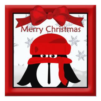 Pinguin-Weihnachtsgruß Quadratische 13,3 Cm Einladungskarte