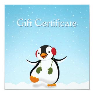 Pinguin-Winter-Illustration - Geschenkgutschein Quadratische 13,3 Cm Einladungskarte