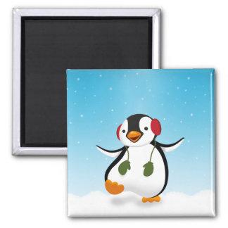 Pinguin-Winter-Illustration - Magnet Quadratischer Magnet