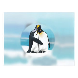 Pinguine durch den Iglu Postkarte