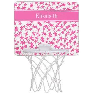 Pink 2 Sterne weißes BG, Pink-Namensmonogramm Mini Basketball Ring