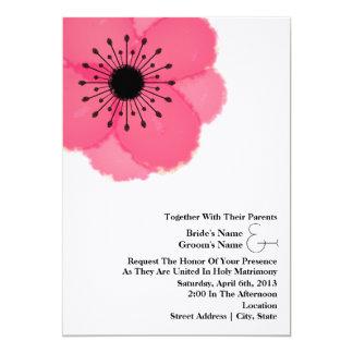 Pink-Anemonen-Hochzeit: Zusammen mit Eltern 12,7 X 17,8 Cm Einladungskarte