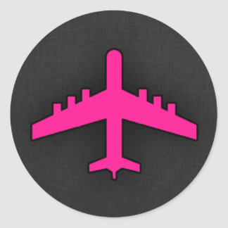 Pink-Flugzeug Runder Aufkleber
