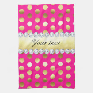 Pink-Goldfolien-Tupfen-Diamanten Geschirrtuch