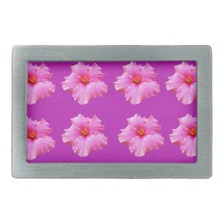 Pink_Hibiscus_Pattern, _ Rechteckige Gürtelschnallen