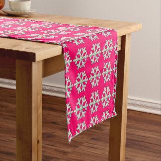 Pink-Schneeflocke-Rosa-Weihnachten Kurzer Tischläufer
