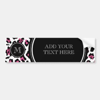 Pink-schwarzer Leopard-Tierdruck mit Monogramm Autoaufkleber