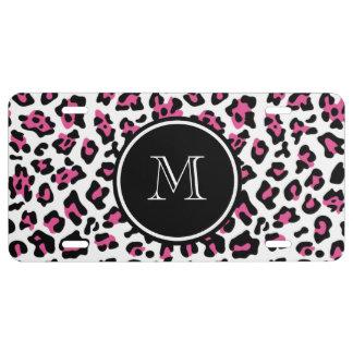 Pink-schwarzer Leopard-Tierdruck mit Monogramm US Nummernschild