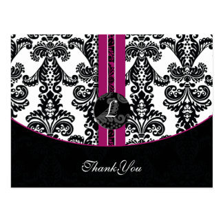 pinkfarbene Damast danke Karten Postkarte