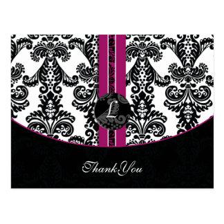 pinkfarbene Damast danke Karten Postkarten