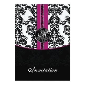 pinkfarbene Hochzeitseinladung des Damastes 12,7 X 17,8 Cm Einladungskarte