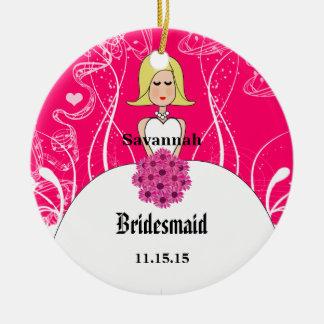 Pinkfarbene kurze blondes keramik ornament