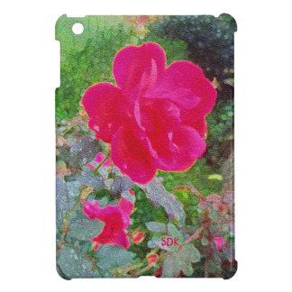 Pinkfarbene rosa Rosen-Blume in der Blüte mit iPad Mini Cover